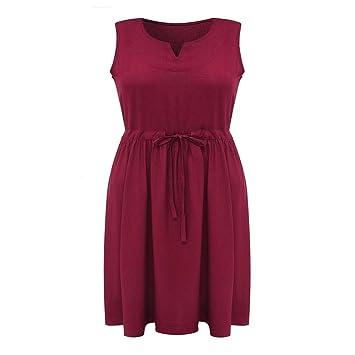 TDPYT Vestido De Algodón/Lino / Color Puro Vestido De Cintura De Encaje Claret L