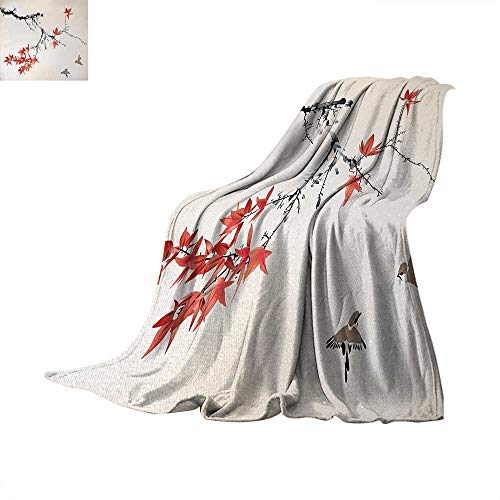 - Japanese Super Soft Lightweight Blanket Cherry Blossom Sakura Tree Branches Romantic Spring Themed Watercolor Picture Summer Quilt Comforter 80