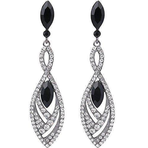 Silver Tone White Earrings - BriLove Women's Crystal Gorgeous Twisted Dual Chandelier Teardrop Fashion Pierced Dangle Earrings Black-Silver-Tone Black w/ White