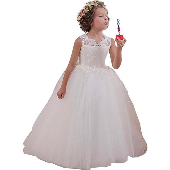 KekeHouse® Cordón Vestido de niña de Flores Tul Vestido de Primera Comunión Vestido de Bola Vestido de Fiesta de la Boda Ojo de Cerradura Espalda
