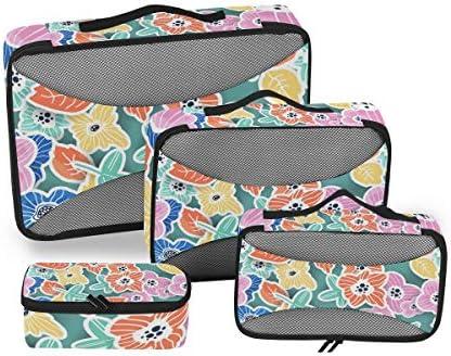 手描きの花の花荷物パッキングキューブオーガナイザートイレタリーランドリーストレージバッグポーチパックキューブ4さまざまなサイズセットトラベルキッズレディース