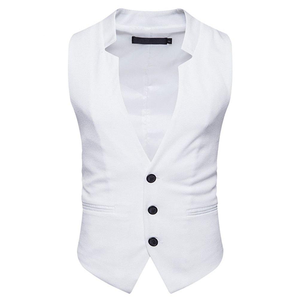 Männer - Weste, männer - Casual - Mode - Anzug, Weste, Geschäft - Anzug, Weste,weiße,XL
