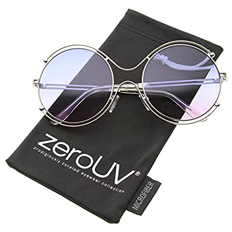 zeroUV - Women's Wire Rimmed Colorful Gradient Lens Round Oversized Sunglasses 58mm (Silver / - Wire Frame Gradient Sunglasses