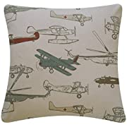 Jtartstore Flight School Collection Airplanes and H 18 x 18-inch retro vintage linen cotton home decorating indoor and outdoor sofa, bed pillow cover a390