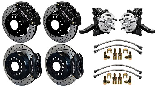 "NEW WILWOOD FRONT & REAR DISC BRAKE KIT WITH 2 1/2"" DROP SPINDLES & LINES, 12.19"" DRILLED ROTORS, BLACK 4 PISTON CALIPERS, PARKING BRAKE ASSEMBLIES 71-87 CHEVY C10 GMC C15 C1500 2WD TRUCKS SUBURBANS -  Southwest Speed, 140-15302_10094-D_14202"