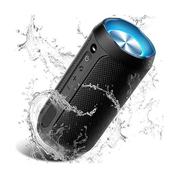 Enceinte Bluetooth Portable, COOCHEER 24W Haut-Parleur Portable Bluetooth avec lumière, IP68 Etanche Haut-parleurs sans Fil Portables pour extérieur, TWS, Temps de Lecture supérieur à 20 Heures 1