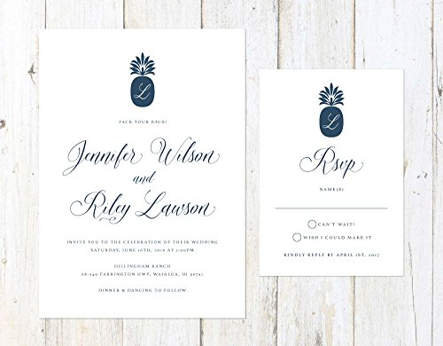 Tropical Wedding Invitation, Navy Blue Tropical Wedding Invitation, Formal Destination Wedding Invite by Alexa Nelson Prints