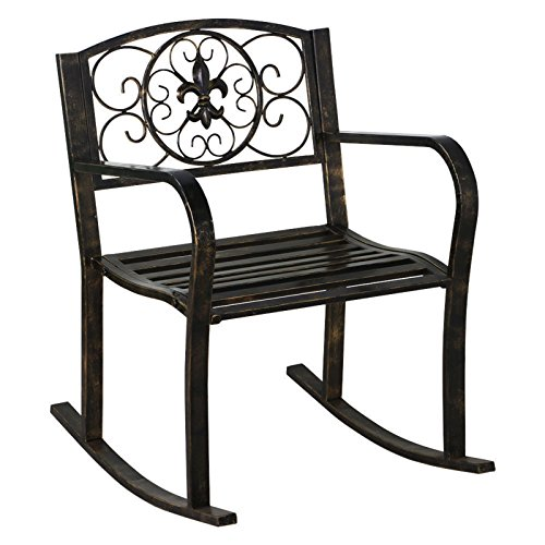 Outdoor Patio Metal Rocking Chair Porch Garden Seat Deck Backyard Glider Rocker New - Stores Viejas Outlet