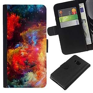 HTC One M9 , la tarjeta de Crédito Slots PU Funda de cuero Monedero caso cubierta de piel ( Colors Universe Bright Galaxy Dust Cosmos)