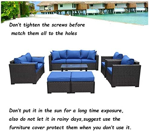 Rattaner Patio PE Wicker Furniture Set 7 Pieces Outdoor Black Rattan Conversation Seat Couch Sofa Chair Set with Royal Blue Cushion
