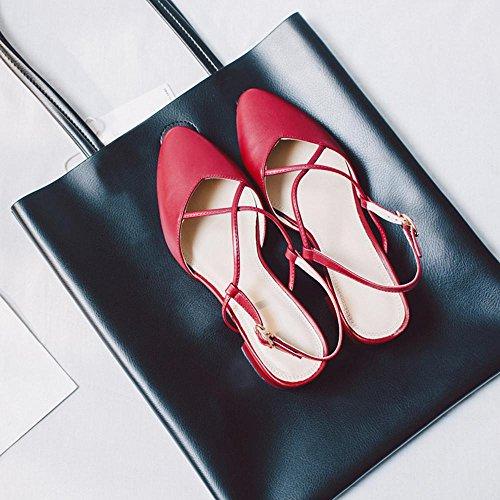 GJDE Sandalias de Cuero Grueso Mujer con la Oficina y de Trabajo y Eventos Vestido Ocasional Big Block Heel Comfort Novedad Red