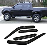 VIOJI 4pcs Dark Smoke Outside Mount Style Sun Rain Guard Vent Shade Window Visors Fit 00-04 Nissan Frontier Crew Cab Pickup Only