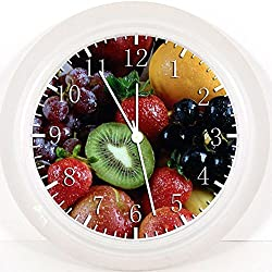 New Fruits Wall Clock 10 Gifts Decor White Frame Z57
