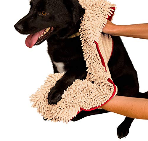 Best dog towel (shammy) - Soggy Doggy Super Shammy Beige Microfiber Chenille Dog Towel with Hand Pockets
