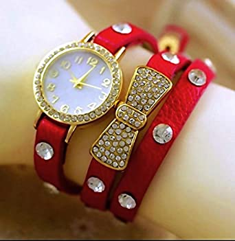 Women Wristwatch Red Color Stylish Fancy Designer Wrist Watch For Girl Nice To Gift A