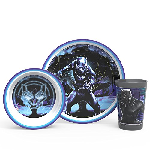 - Zak Designs Marvel Comics Kids Dinnerware Set Made of Durable Melamine with Fun Character Surface, Include Plate, Bowl and Tumbler Tableware is Perfect for Kids (Black Panther, 3 Piece Set, BPA Free)