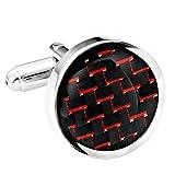 #9: Titanium Men's Cufflinks Black and Red Carbon Fiber Round Polished
