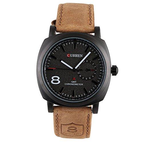 Vktech Fashion Curren Men Sport Military Water Quartz Watch With Leather Strap Black Buy