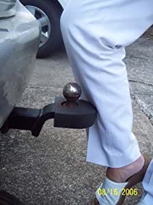 "Hitch Doktor (BLACK), is the Ultimate Trailer Hitch ""Shin"" Protector. Made of long lasting durable Vinyl Coated Foam Rubber. UV Resistant.	Slips over most Trailer Hitch Ball and Nut. No need to remove it when towing. Nothing to keep track of when pulling a trailer."