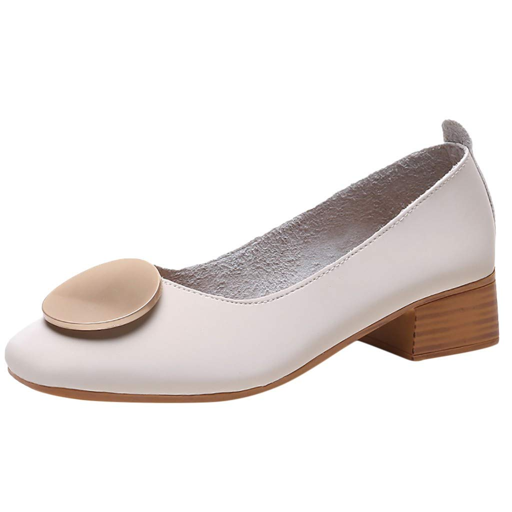 ZOMUSAR New! 2019 Fashion Women Summer Pumps Square Toe Single Shoes Casual Mid Heels Sexy Shoes Beige
