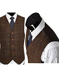 Mens Premium Wool Blend Tweed Herringbone Check Plaid 5 Buttons Waistcoat Suits Vest