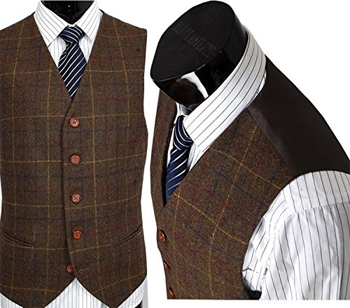 Yunjia Mens Premium Wool Blend Tweed Herringbone Check Plaid 5 Buttons Waistcoat Suits (Plaid Wool Tweed)