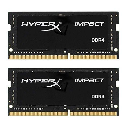 HyperX HX424S14IB2K2/16 Impact Black 16GB Kit of 2 (2x8GB) 2400MHz DDR4 Non-ECC CL14 260-pin Unbuffered SODIMM Internal Memory Black