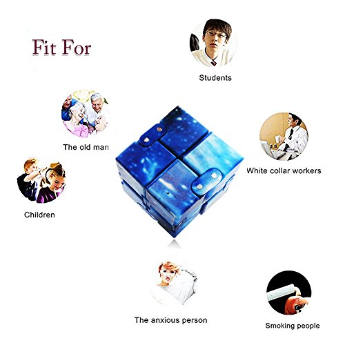 LIHJO 1 New Fashion Interstellar Infinity Fidget Cube Anti Stress Adults Kids Gift Edc for Adhd Funny Finger Toys 2.5(OU) Blue