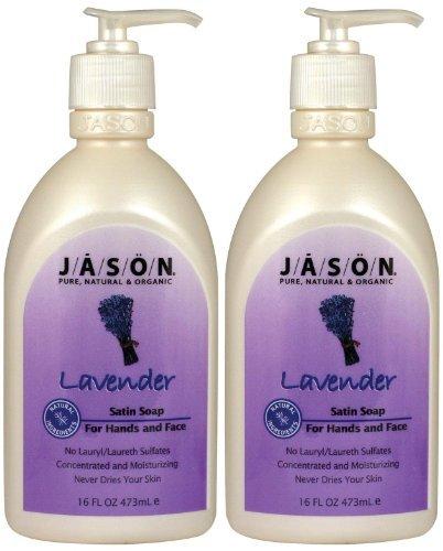 Liquid Satin Soap for Hands & Face, Lavender, 16 oz, 2 pk by Jason - Lavender Satin Liquid Soap