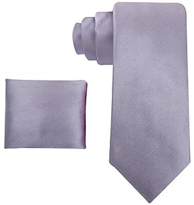 Scott Allan Mens 100% Silk Solid Necktie with Pocket Square