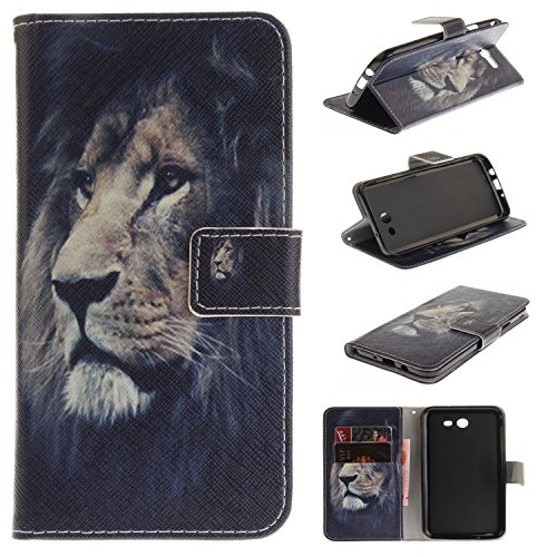 Carbon Fiber Heart Snap (Galaxy J7 Perx Case, Galaxy J7 Sky Pro Case, Galaxy J7 V 2017 Case, Jenny Shop Premium Pu Leather Flip Folio Stand Feature Magnetic Closure Protective Shell Wallet Case with Card Slot (Lion))