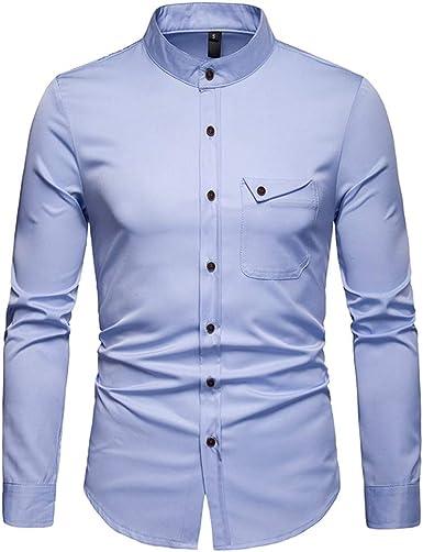Hombre Casual Camisa Manga Larga Slim Fit S M L XL 2XL ...