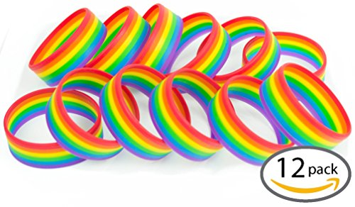 [Premium Quality Silicone Rainbow Bracelets (Assorted Quantities) - 12 Pack of Wristbands] (70s Era Clothing)