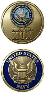 "United States Military US Armed Forces USN Navy ""Proud Mom"" - Good Luck Double Sided Collectible Challenge Pewter Coin"