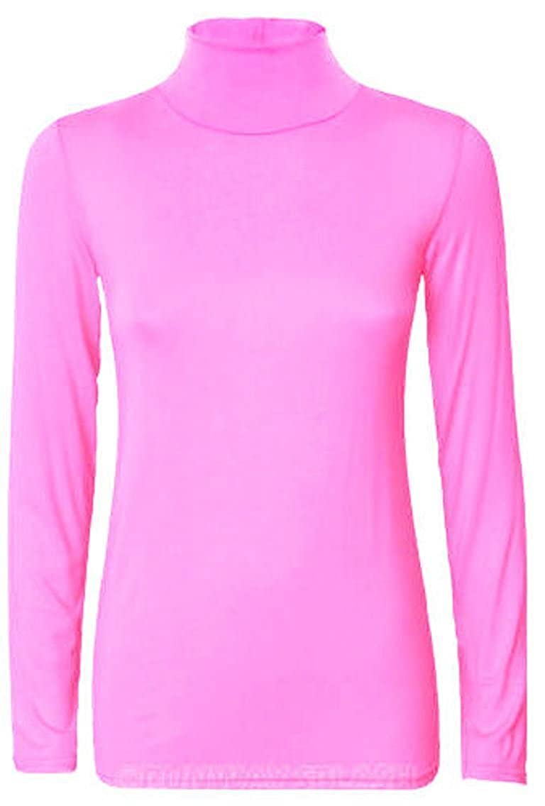 Ladies Turtle Polo High Neck Jumper Top Womens Long Sleeve Stretch Jumper Top