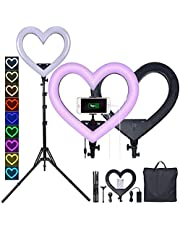 """LED Ring Light 19"""",Multi-Funtion Seven-Color Heart-Shaped Selfie Ring Light, 360°Rotatable Ring Light with Tripod Stand and Phone Holder,for Tiktok Portrait YouTube Video, Makeup"""