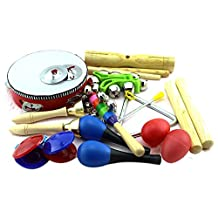 Ishowstore 11 Pieces Kids Children's Musical Percussion Instrument Set Toys Kit for Baby Toddler Blue Package
