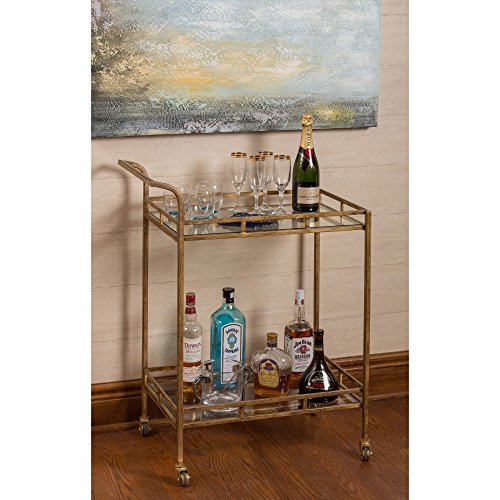 Cooper Classics Bar - Cooper Classics Esther Bar Cart in Antique Gold Finish