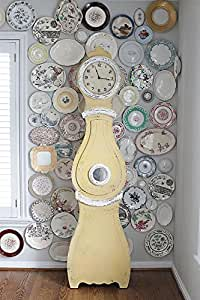 Wood & MDF Clock Distressed Yellow Cream Finish Country Home D