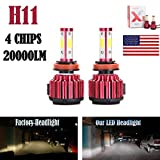 h11 bulb hid 6000k - 2Pcs H11 LED Headlight Bulbs Conversion Kit H8/H9 Car Headlamp 20000LM 6000K Cool White Hi/Lo Beam / DRL / Fog Light Replace for Halogen HID - Plug and Play