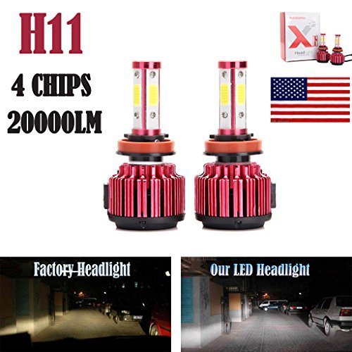 2Pcs H11 LED Headlight Bulbs Conversion Kit H8/H9 Car Headlamp 20000LM 6000K Cool White Hi/Lo Beam / DRL / Fog Light Replace for Halogen HID - Plug and Play (Car Headlamp Bulbs)