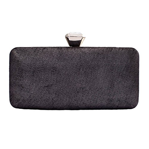 Bags Black Clutch Wedding Clasp Womens Hardcase Exquisite Darama Top W4fZ780xn