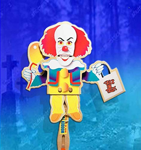 Scary Clown Puppet - Halloween Wooden Hand Puppet- Scary