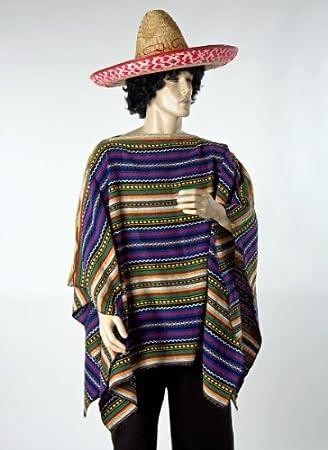 Poncho mexicano de talla única para Carnaval  Amazon.es  Juguetes y juegos 6c95ca3d45a