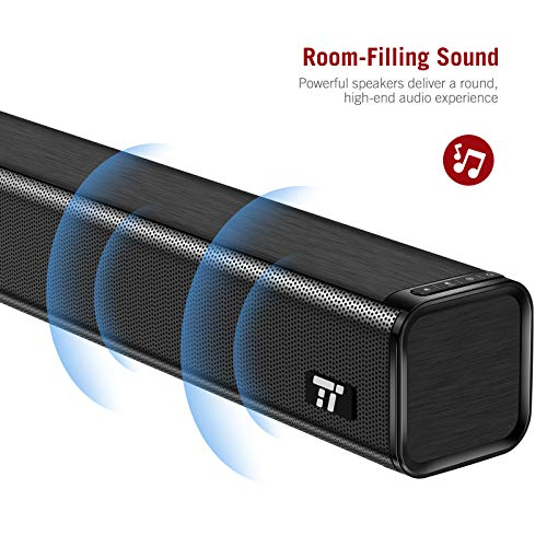 Soundbar, TT-SK023 TaoTronics Three Equalizer Mode Audio Speaker for TV, 32-Inch Wired & Wireless Bluetooth 4.2 Stereo Soundbar, Optical/AUX/RCA Connection, Wall Mountable, Remote Control, Black by TaoTronics (Image #1)