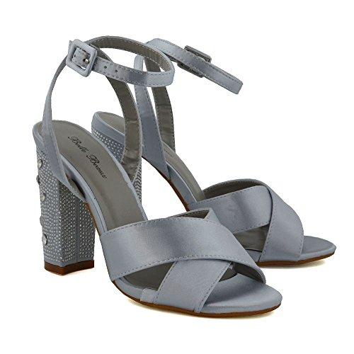 ESSEX GLAM Womens Strappy Heels Bridal Diamante Satin Chunky Heel Criss Cross Sandals Silver Satin Jz74DprX