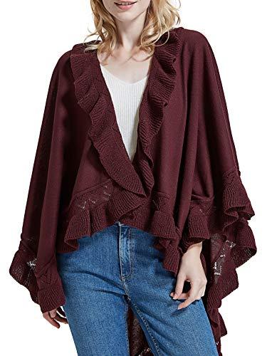 (Spicy Sandia Ruffle Poncho for Women Knit Ruffled Trim Open-Front Wine Wrap Shawl Cape)