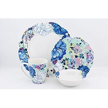 Scarlett 16 Piece Bone China Dinnerware Set Blue Peony Service for 4  sc 1 st  Amazon.com & Amazon.com | Scarlett 16 Piece Bone China Dinnerware Set Blue Peony ...