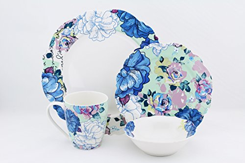 Blue Bone Dish - Scarlett 16 Piece Bone China Dinnerware Set Blue Peony, Service for 4