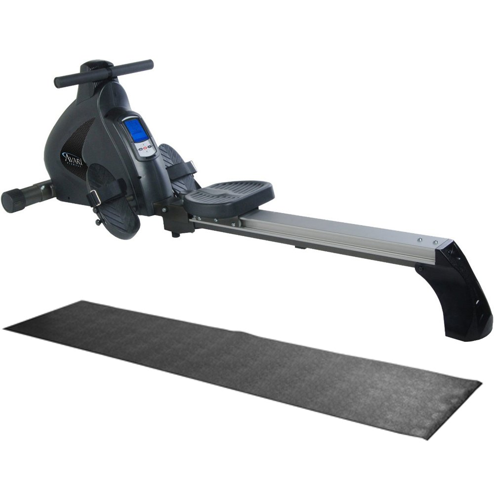 Stamina Avari Programmable Magnetic Exercise Rower with Fold-to-Fit Folding Equipment Mat (84-Inch by 36-Inch) by Stamina